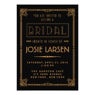 Art deco bridal shower invitations dream wedding ideas great gatsby bridal shower invitation cards stopboris Gallery