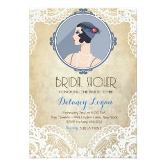 Personalized Art Deco Bridal Shower Invitations