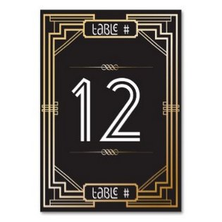 art deco table number card