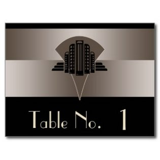 black and bronze art deco tower table number postcard- 325-315