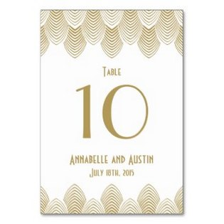 gold and white art deco table card