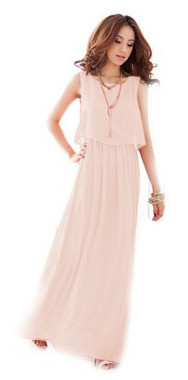 bohemian-wedding-dress-pink-chiffon