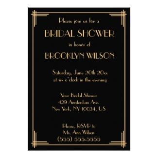 Art Deco Bridal Shower Invitations Personalized