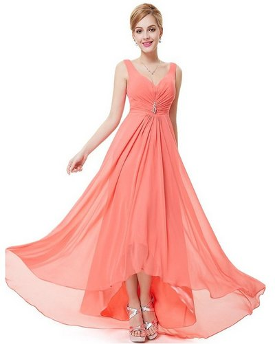 coral high low dress