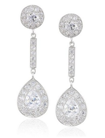 platinum-Plated-Sterling-Silver-Pear-Shaped-Drop-Earrings