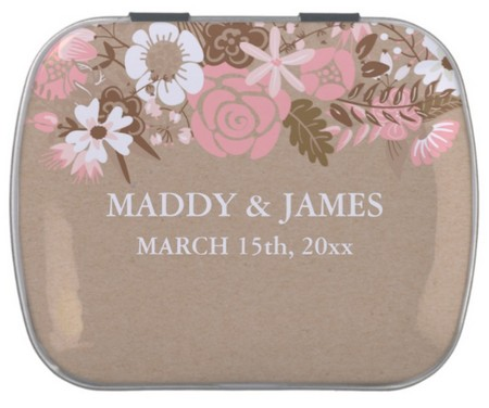 wedding favor tin with candy customizable