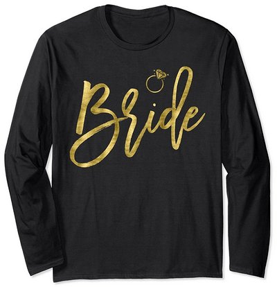 bride long sleeve shirt ring faux gold