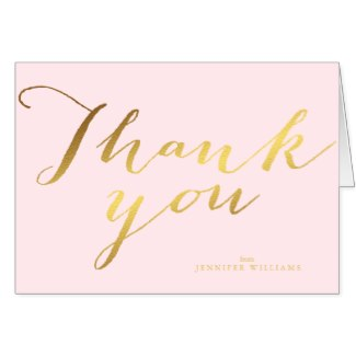 gold and pink thank you note