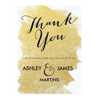 gold thank you card flat