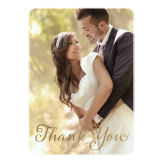 photo thank you card gold effect