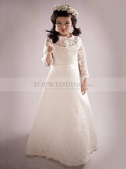 ivory-lace-long-flower-girl-dress-with-sash