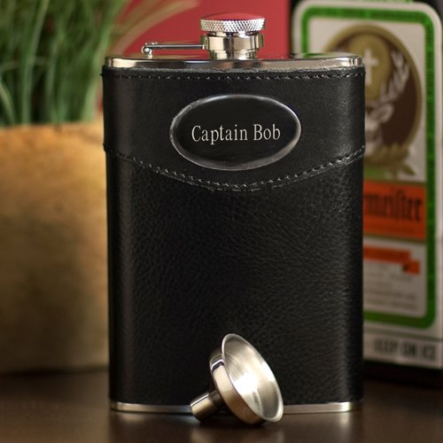 custom black leather flask