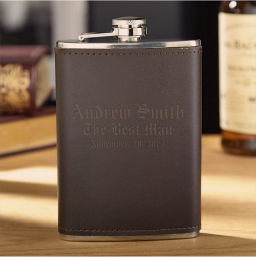 vintage leather flask