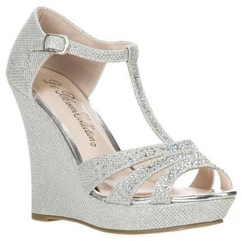 silver t strap wedge sandals
