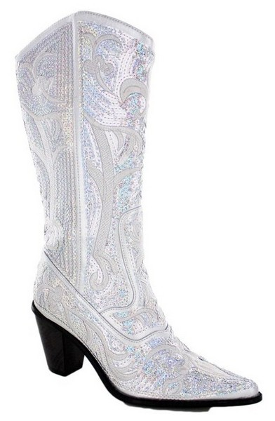 silver wedding boots