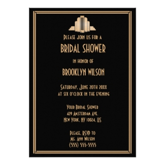Art deco bridal shower invitations dream wedding ideas art deco wedding shower invitations filmwisefo