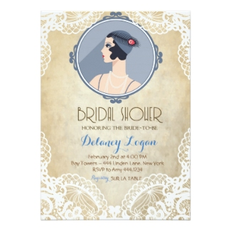 personalized art deco bridal shower invitations