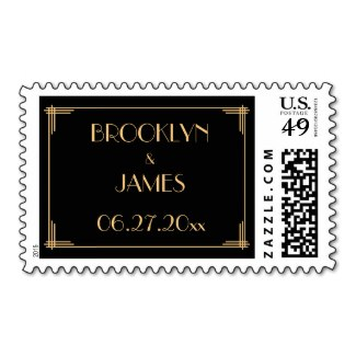 art deco stamp personalized