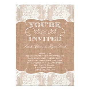 burlap and lace wedding invitations dream wedding ideas. Black Bedroom Furniture Sets. Home Design Ideas