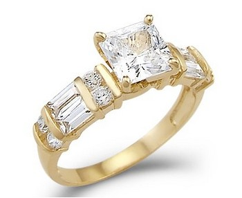Yellow-Gold-Princess-CZ-Cubic-Zirconia-Engagement-Ring