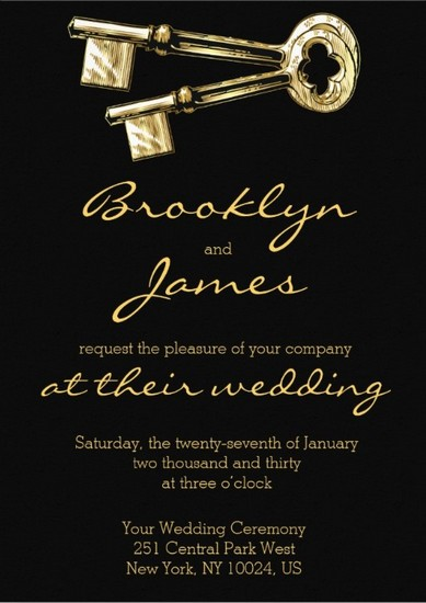 key wedding invitation black gold