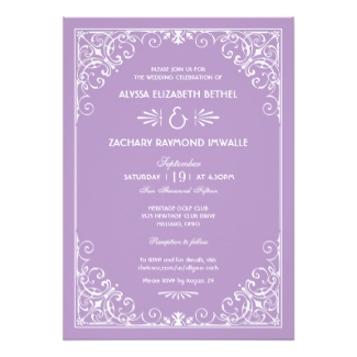 Lavender And White Wedding Invitations
