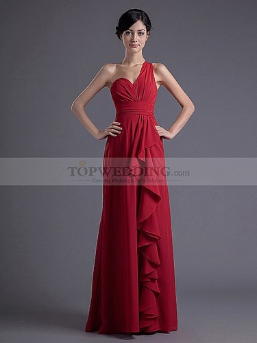 one-shoulder-chiffon-bridesmaid-dresses-in-red-maroon
