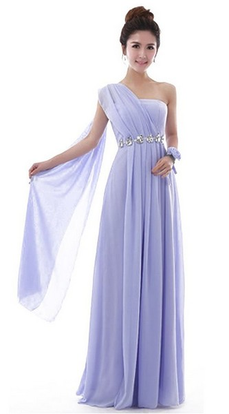 Chiffon Bridesmaid Dress Lavender Blue