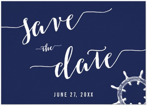 Nautical Navy Blue Save The Date Invitation Cards