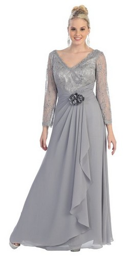 Long Silver Mother Of The Bride Gowns