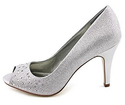 silver wedding pumps