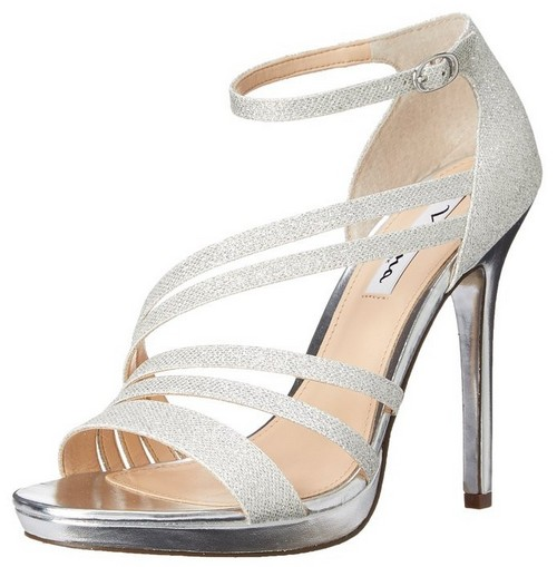 strappy silver heels for wedding