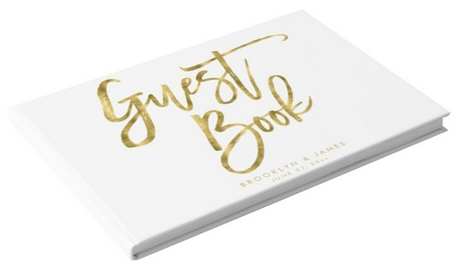white and gold wedding guest book